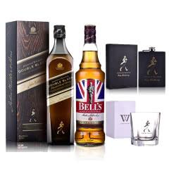 40°英国尊尼获加黑方(醇黑)+40°英国金铃喜乐致醇(调配苏格兰威士忌 700ml*2+酒壶+五角杯)