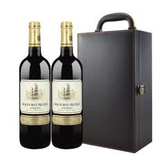 法国原瓶原装进口红酒 龙船浩威将军干红葡萄酒 750ml*2 礼盒装