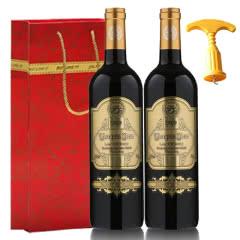 法国原瓶进口红酒 AOP级 玛格洛金爵干红葡萄酒750ml*2【礼袋装】