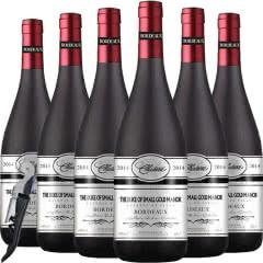 法国原瓶进口红酒波尔多产区AOC级公爵小金奖干红葡萄酒整箱750ml*6【送海马刀】