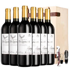 法国原瓶原装进口红酒超级波尔多法定产区AOC级干红葡萄酒木箱礼盒装整箱750ml*6瓶