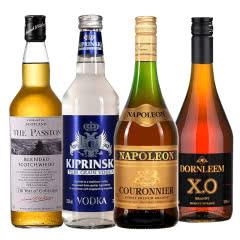 进口洋酒组合套餐 威士忌+白兰地+XO白兰地+伏特加 700mL*4瓶烈酒