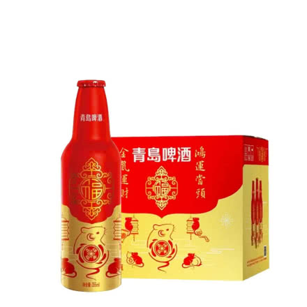 青岛啤酒鸿运当头鼠年限定金鼠财运355ml*12瓶整箱装
