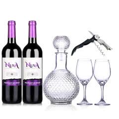 西班牙诺爱德紫标干红葡萄酒750ml (双支装)+酒具套装