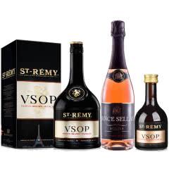 40°法国圣雷米VSOP白兰地700ml*1+【包邮】西班牙塞雷斯桃红起泡葡萄酒750ml