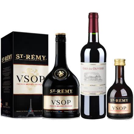 40°法国圣雷米VSOP白兰地700ml*1+法国红酒法国原瓶进口葛雷奥利干红葡萄酒750ml