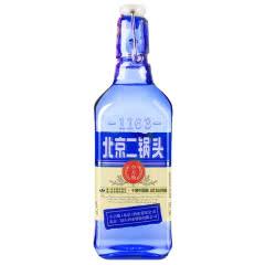 42°永丰牌北京二锅头出口型小方瓶蓝瓶 永丰二锅头 纯粮食清香白酒低度口粮酒500ml