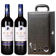 法国原瓶进口宾露干红葡萄酒红酒(蓝钻)鳄鱼礼盒装750ml*2