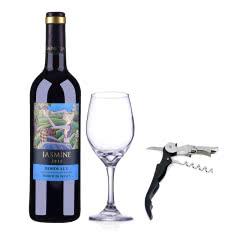 【包邮】法国茉莉花波尔多干红葡萄酒750ml+酒杯+酒刀