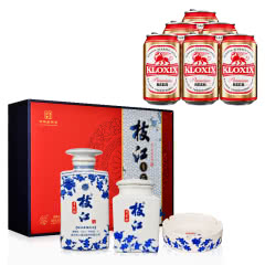 52°枝江青花韵礼盒1000ml+茶叶罐+烟灰缸+科罗斯德式经典拉格啤酒330ml(金罐) *6