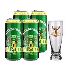 公鹿王德式小麦精酿啤酒500ml*4+公鹿王精品啤酒杯