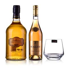 37.5°法圣古堡公爵金朗姆酒700ml+40°法圣古堡公爵XO白兰地700ml+洋酒杯