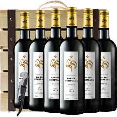 法国原瓶进口红酒波尔多AOC级法定产区路易斯干红葡萄酒红酒木质礼盒750ml*6