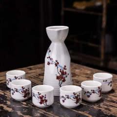 陶瓷酒具 套装简约酒壶分酒器七件套(花形随机发)