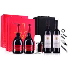 【红酒礼盒】法国原瓶进口香奈半甜红葡萄酒750ml双支高端礼盒(含酒杯*1、酒刀*1) +澳大利亚洛伊斯达梅洛BIN168干红葡萄酒750ml*2(双支礼盒装)