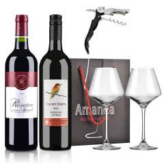 法国拉菲罗斯柴尔德珍藏+澳大利亚原瓶进口朗翡洛荆棘鸟西拉红葡萄酒+酒杯礼盒+酒刀