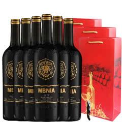 法国原酒进口红酒玛贝尼卡雕花重型瓶13.5度干红葡萄酒750ml*6整箱带礼袋装