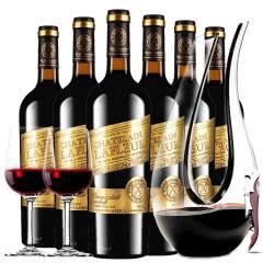 法国进口红酒拉斐大统领金标干红葡萄酒红酒整箱醒酒器装750ml*6