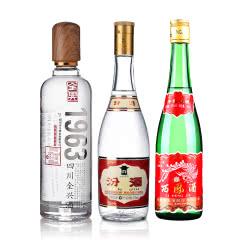53°黄盖玻瓶汾酒475ml+55°西凤酒绿瓶500ml+52°全兴(1963)500ml