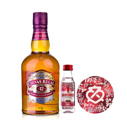 40°英国芝华士12年苏格兰威士忌500ml+必富达金酒50ml+杯垫