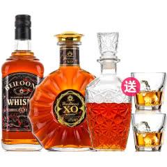 40°法国洋酒(原酒进口)贝洛尼XO白兰地500ml+国产威士忌700ml组合套装
