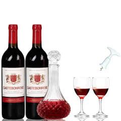 歌思美露维克多半甜型红葡萄酒红酒送醒酒器酒具套装750ml*2