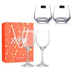 【包邮】欢乐送葡萄酒水晶红酒杯*2+洋酒杯*2(红洋酒杯套装)