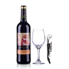 【包邮】法国原瓶进口红酒茉莉花鲁西荣干红葡萄酒750ml+酒杯+酒刀