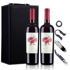 智利老鹰之歌赤霞珠红葡萄酒750ml*2(双支皮盒套装)