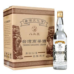 58°台湾高粱酒600ml 整箱6瓶 实惠装 高度白酒 明水堂八二三家常泡药酒
