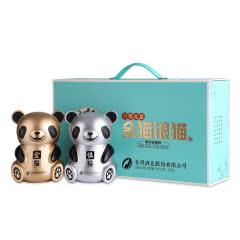 52度舍得酒业股份有限公司出品 熊猫礼盒金猫银猫酒 高度浓香型白酒礼盒装 500ml*2