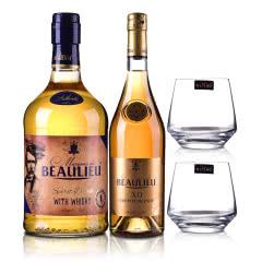 40°法国(原瓶进口)法圣古堡公爵XO白兰地700ml +40°法圣古堡公爵威士忌(配制酒)700ml + 法圣古堡洋酒杯C3612(双支)