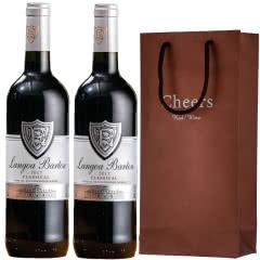 法国进口红酒14度朗格巴顿银牌特卖干红葡萄酒750ml*2瓶装+双支装礼袋可送礼