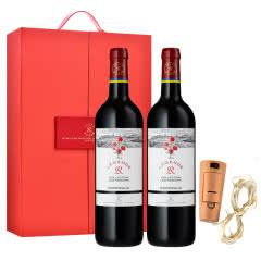 法国传奇源自拉菲罗斯柴尔德经典玫瑰红葡萄酒750ml*2(红酒礼盒)+发光瓶塞