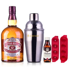 40°英国芝华士12年苏格兰威士忌1000ml+摇酒壶+四格冰盒+百龄坛50ml